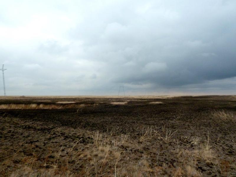 20150920. Вид на строящуюся ЛЭП, среди сожжённой степи в районе заброшенного села Целинное.