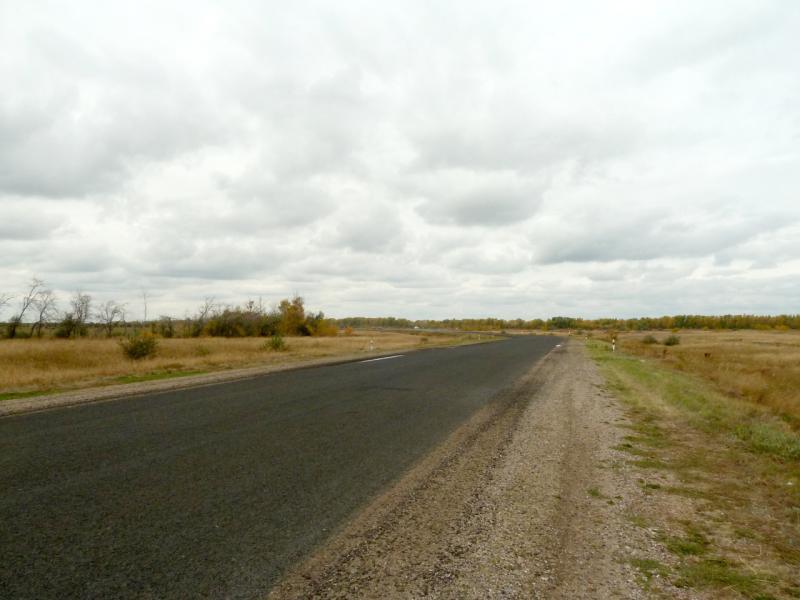 20150920. Дорога Павлодар-Курчатов на участке в паре километров от моста через канал Иртыш-Караганда.