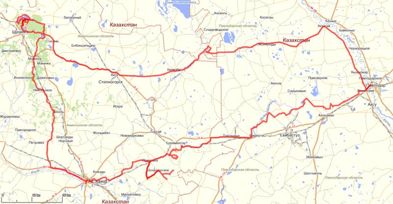 20110826. Нитка маршрута на топографической карте (maps.yandex.ru).