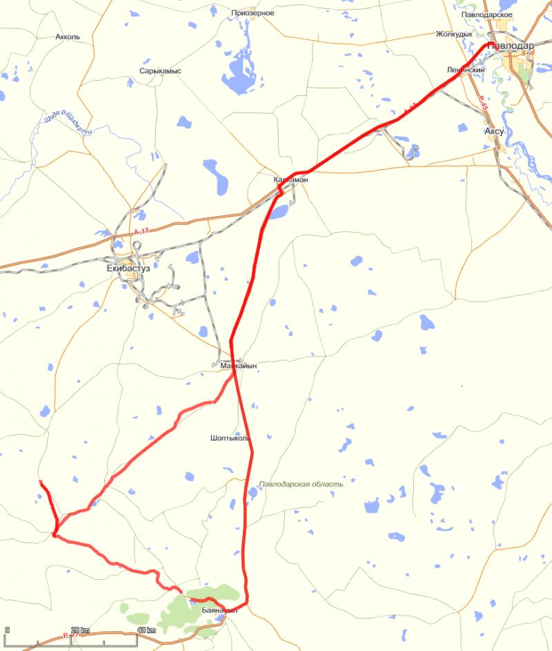 20110530. Нитка маршрута на топографической карте (maps.yandex.ru).