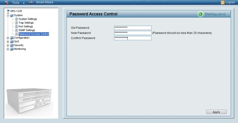 Задание пароля для D-Link 1228.