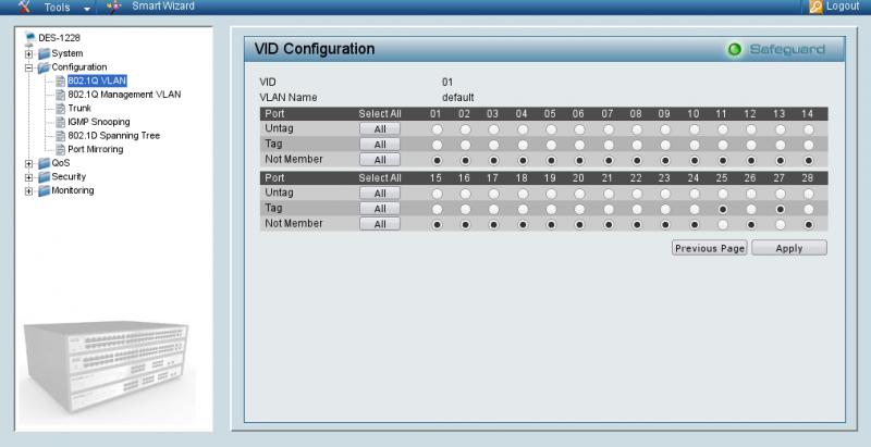 Передача тегируемого VLAN 1 коммутаторам каскада для D-Link 1228.