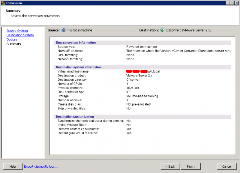 VMware Converter: убедимся в том, что не забыли чего-нибудь мелкого, но важного.