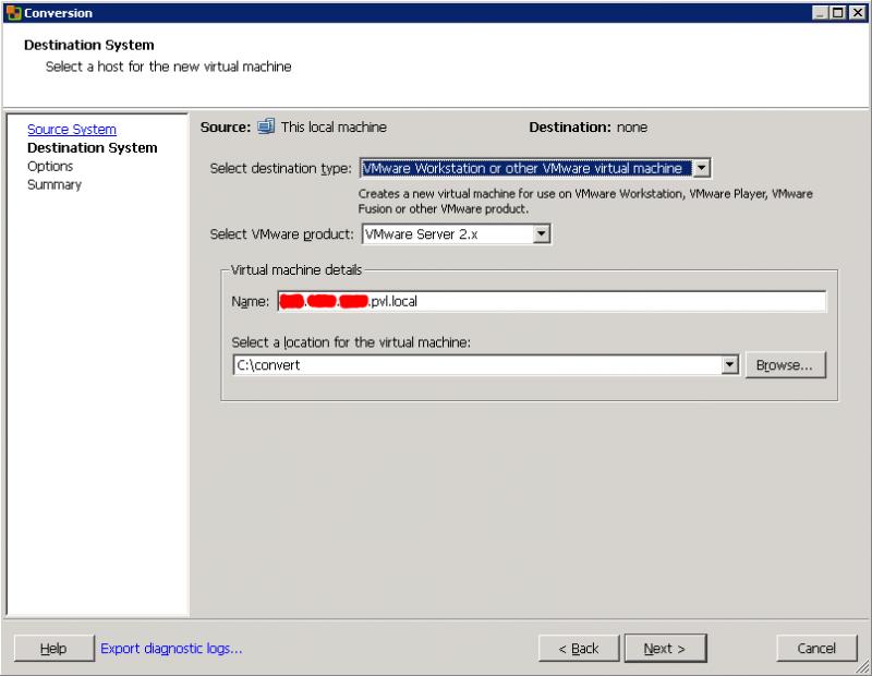 VMware Converter: определяемся, во что желаем превратить систему.