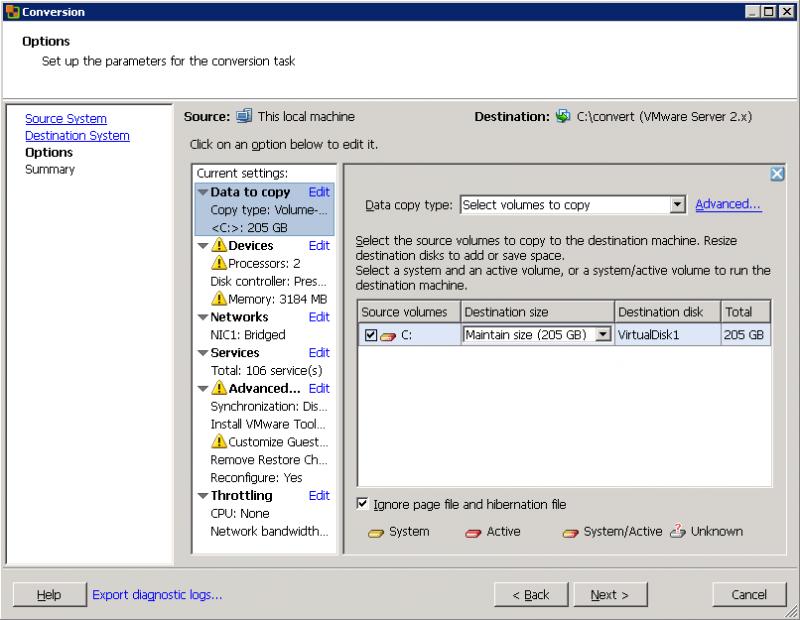 VMware Converter: здесь мы можем выбрать, какие диски подлежат переносу в виртуальную машину.