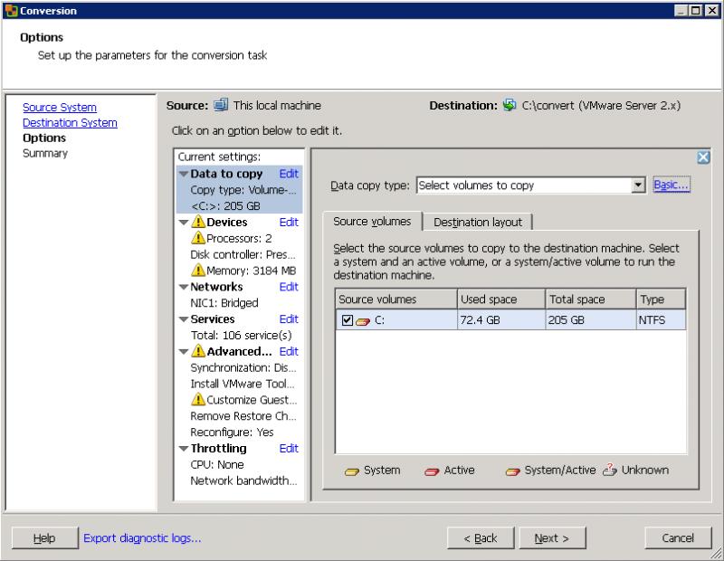 VMware Converter: в расширенном режиме раздельно работать с исходным и результирующим материалом.