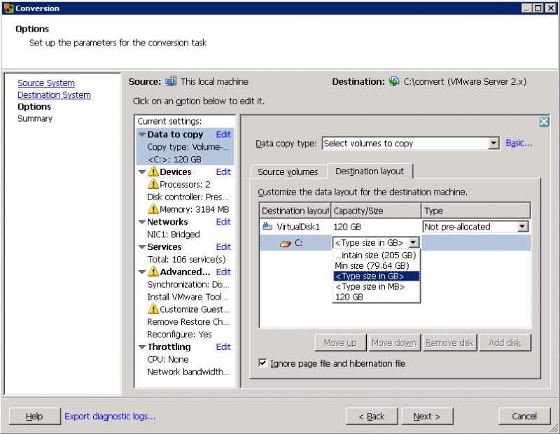 VMware Converter: нужно решить, в каком виде и объёме создавать результирующие виртуальные диски.