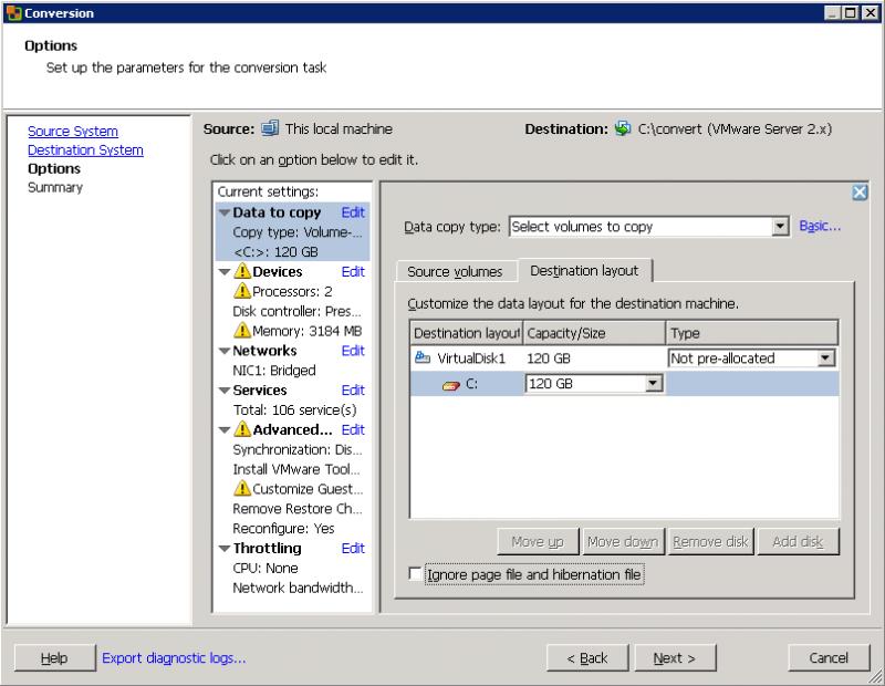 VMware Converter: можно явно указать размер финального диска.