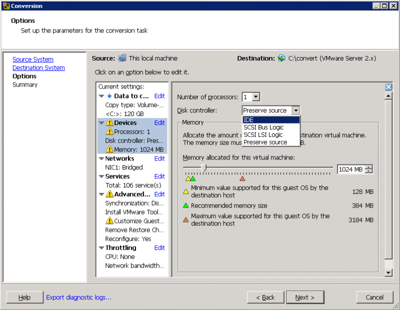 VMware Converter: всё просто - берём по минимуму.