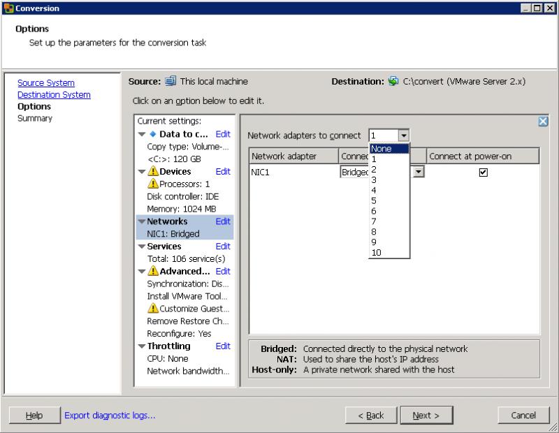 VMware Converter: от создания виртуального сетевого интерфейса рекомендую отказаться.