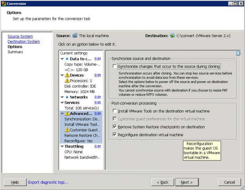 VMware Converter: последним важным этапом завершаем подготовку к виртуализации.