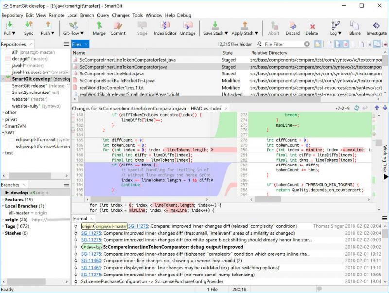 Syntevo - SmartGit: пример интерфейса, от разработчиков продукта.