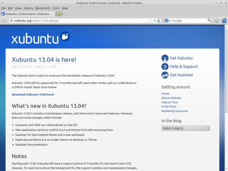 """Установка """"Xubuntu 13.04"""": страница анонса дистрибутива на сайте разработчиков."""