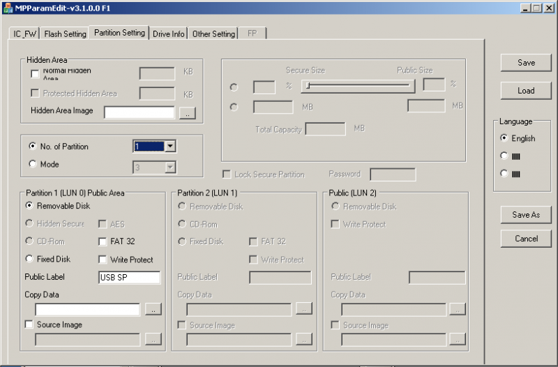 Phison MPALL v3.08: Конфигурация разделов.