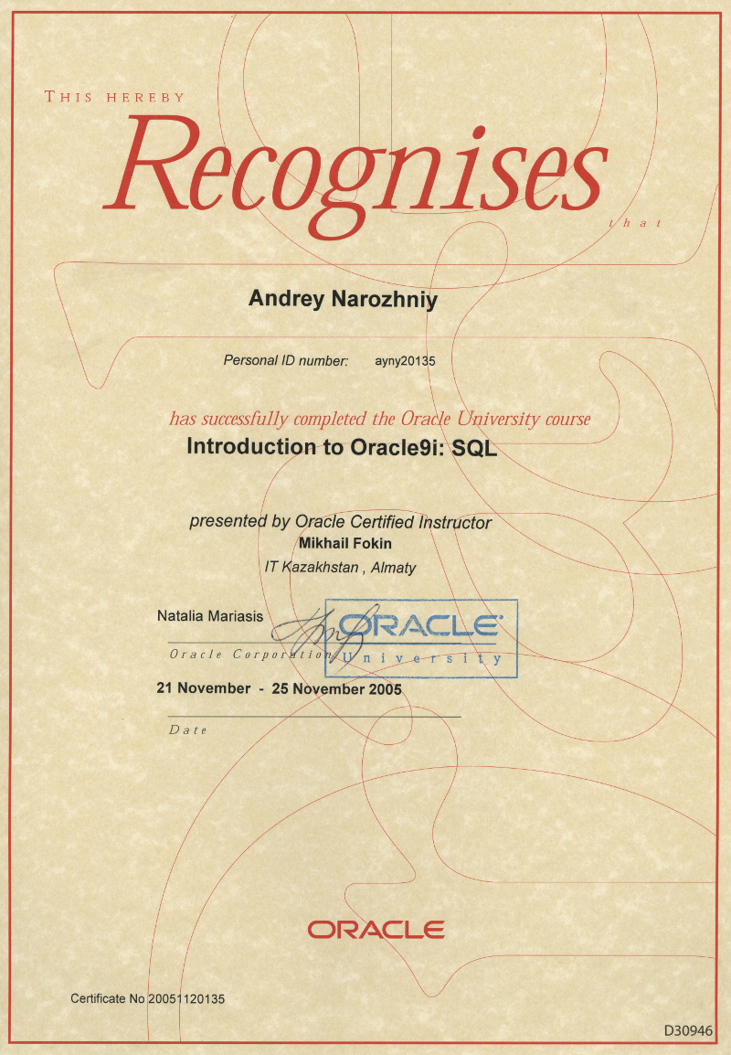 Certificate Introduction Oracle9i: SQL.