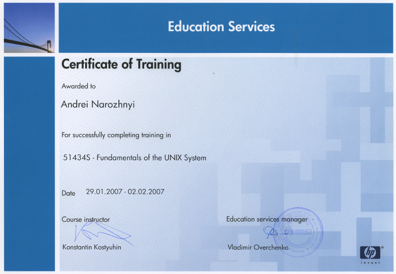 Certificate of Training: Fundamentals of the UNIX System.