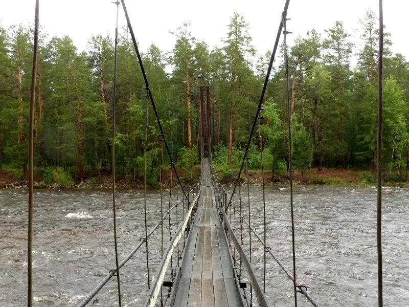 20180625. Пешеходный подвесной мост через правый рукав реки Баргузин, ведущий на остров Умхей.