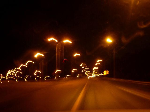 20180628. Ночная дорога через Тайшет, на пути в Красноярск.