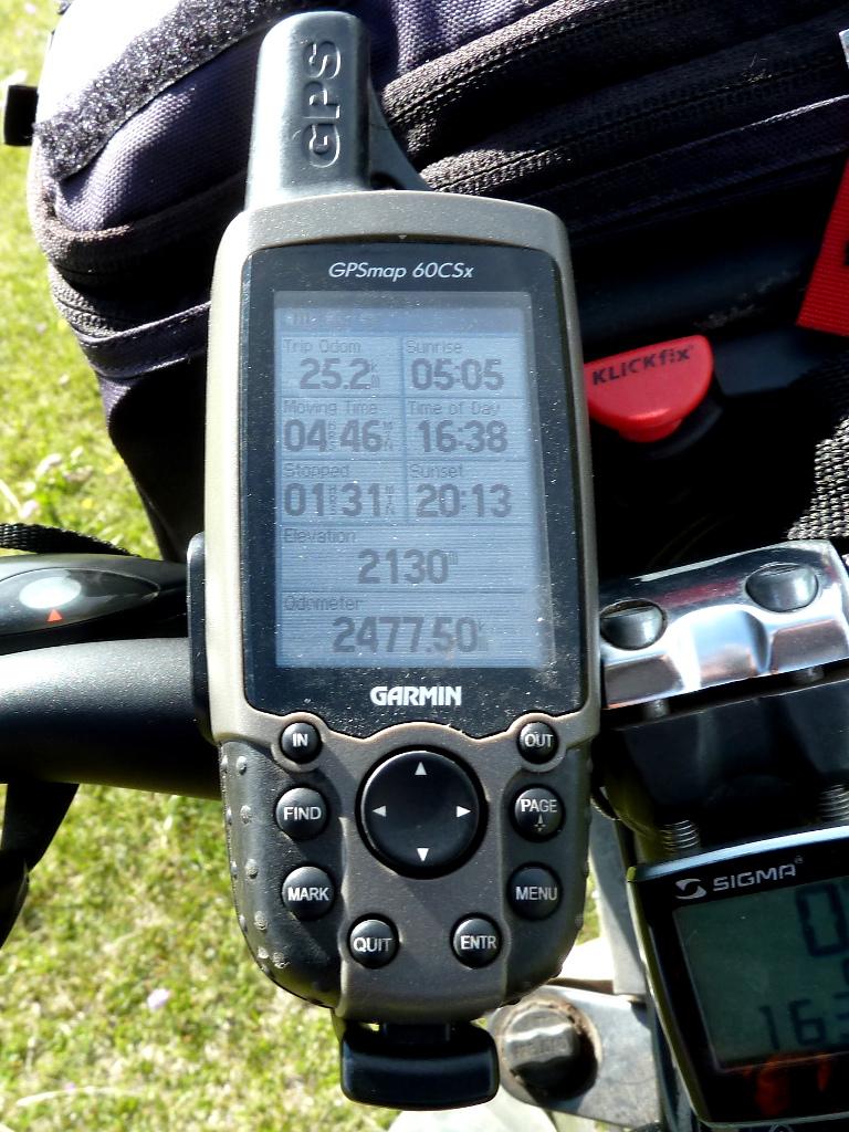 20130526. Показатели GPS-навигатора на высшей точке перевала Уйгентас.