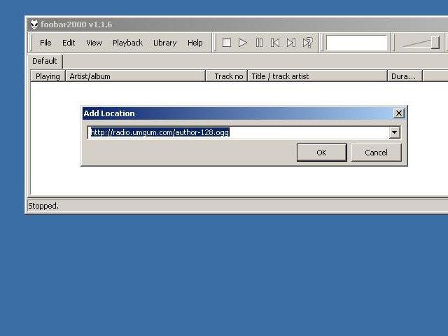 Foobar2000: Сообщаем URL потока.