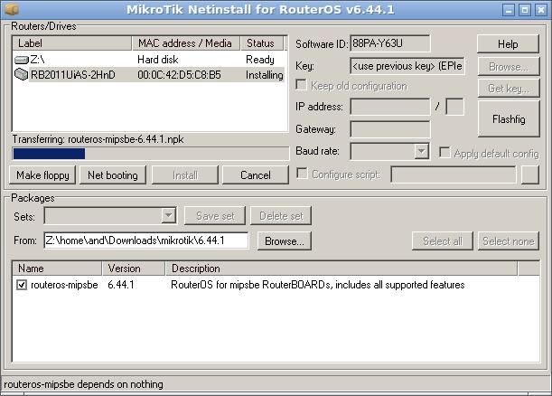 """Отображение процесса обновления """"RouterOS"""" в GUI """"Netinstall"""" (Mikrotik)."""