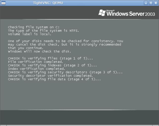"""Этап проверки целостности файловой системы при запуске ОС """"MS Windows Server 2003""""."""