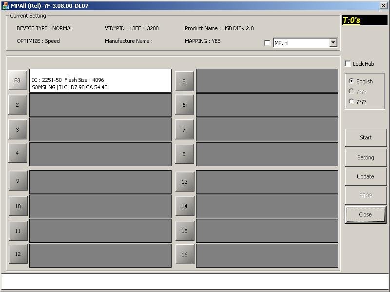 Phison MPALL v3.08: Устройство определено.