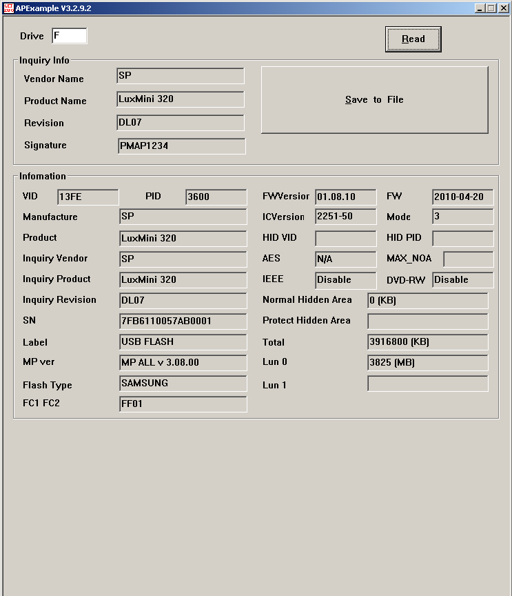 Phison MPALL v3.08: Вывод утилиты GetInfo.