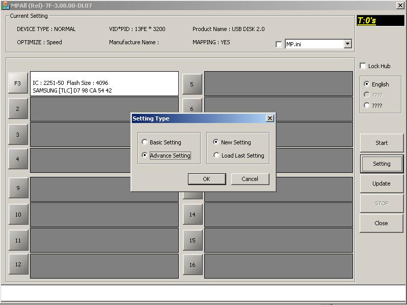 Phison MPALL v3.08: Переходим в режим расширеной конфигурации.