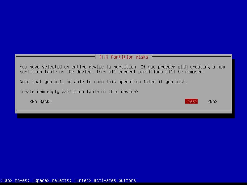Squeeze: подтверждаем согласие с необходимостью создания новой таблицы разделов для дискового устройства.