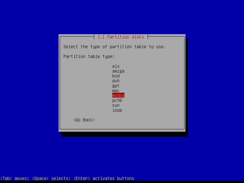 Squeeze: выбираем обусловленный архитектурой компьютера тип таблицы разделов.