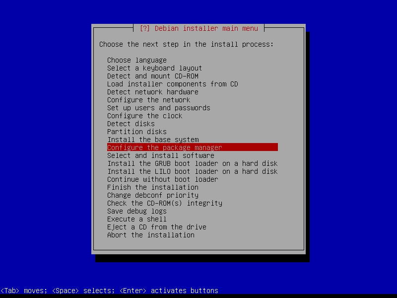 Squeeze: этап настройки параметров менеджера пакетов Debian.
