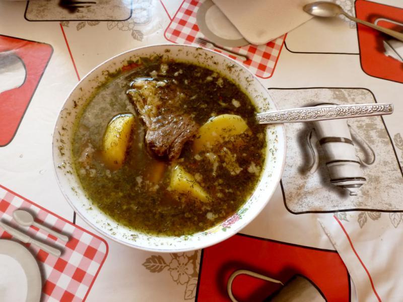 20160809. Тарелка шурпы - моя обычная еда в поездках по Казахстану.