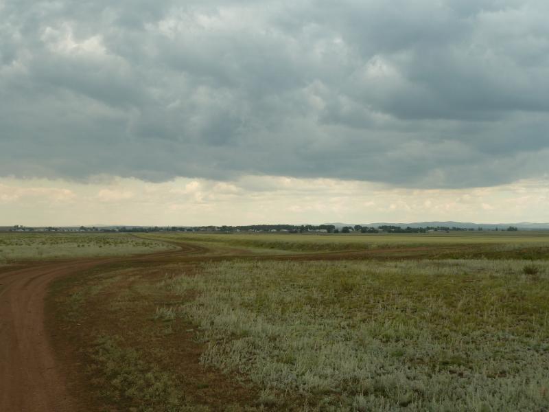 20110810. Павлодар-Астана. Село Благодатное, вид со стороны Новодолинки.