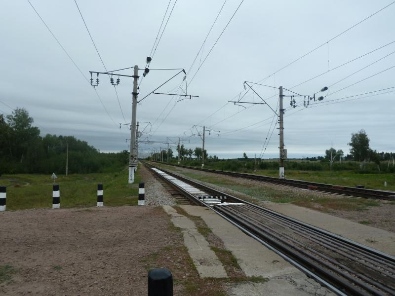 20110817. Астана-Боровое. Железнодорожный переезд между Алексеевкой и Никольским.
