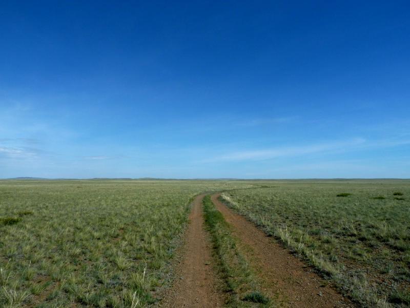 20120510. Степями до Курчатова: дорога на Курчатов в районе солёного озера Сарыкаска.