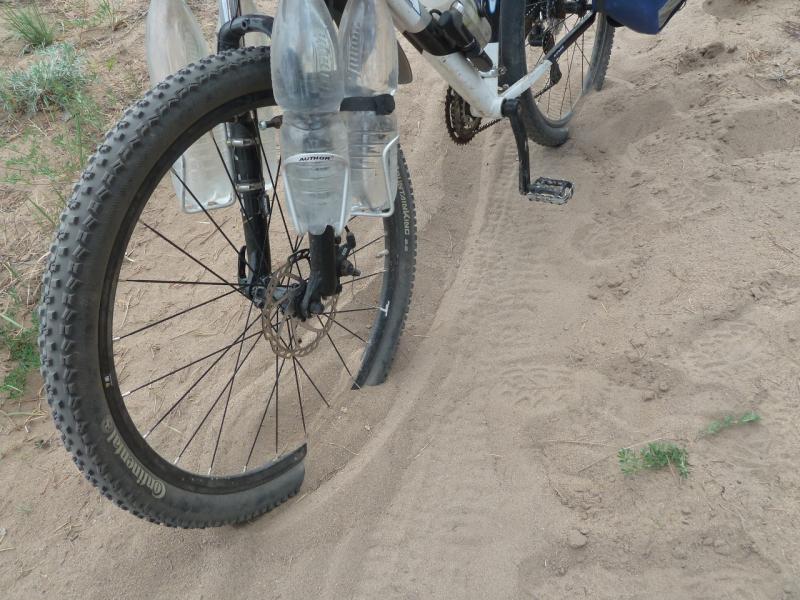 20120515. Шалдайскими борами: колёса велосипеда зарываются в песок и не едут.