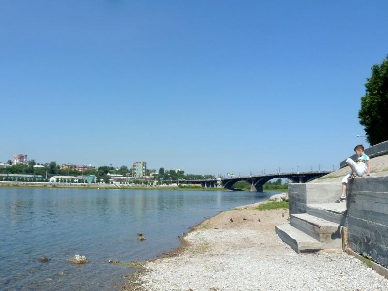 20180627. Иркутск. Вид на Глазковский мост, с набережной Ангары.