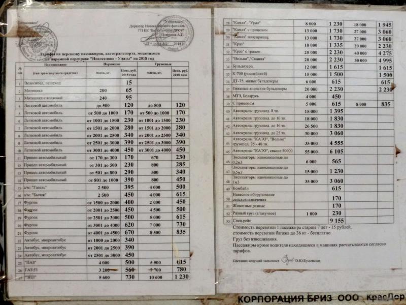 20180628. Прейскурант цен на перевозку автотранспорта новосёловским паромом.