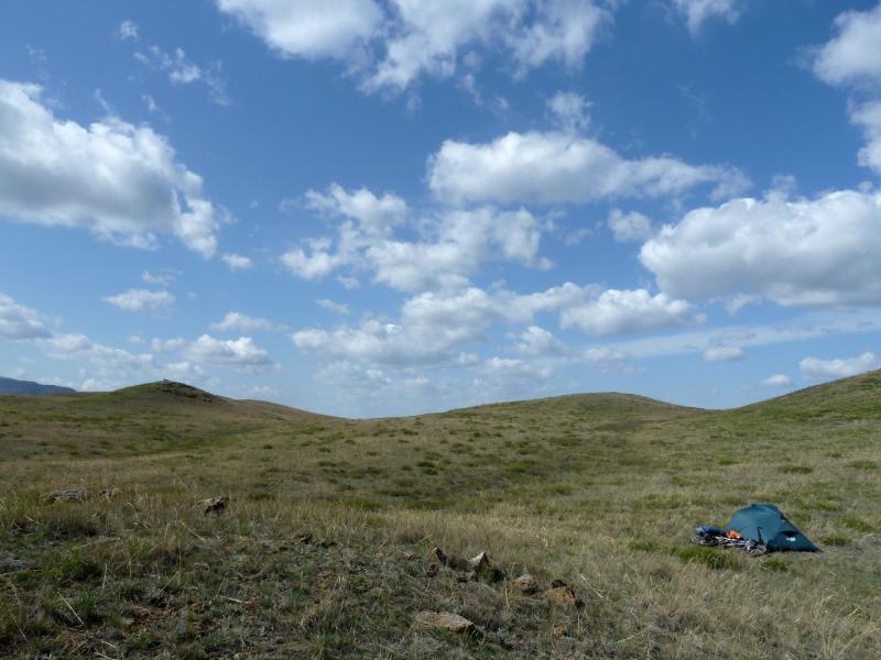 20130424. Вид на место стоянки в сопках, за пятнадцать километров до посёлка Торайгыр.