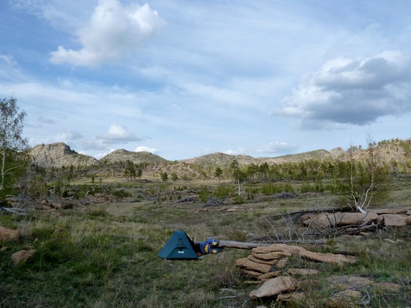 20130424. Вид на стоянку в полукилометре от озера Джасыбай.
