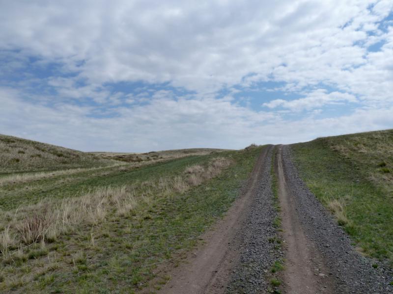 20130425. Типичный подъём на холм мелкосопочника южнее Баянаула.