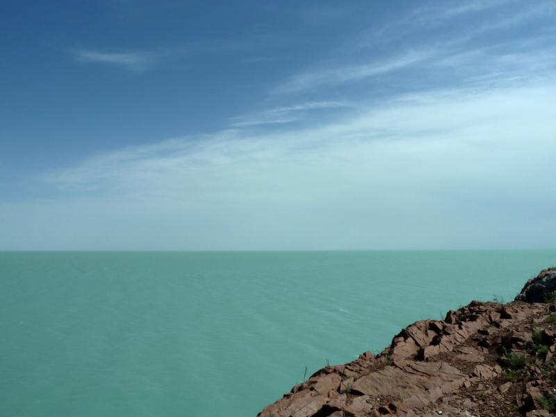 20130509. Вид на озеро Балхаш с набережной Приозёрска.