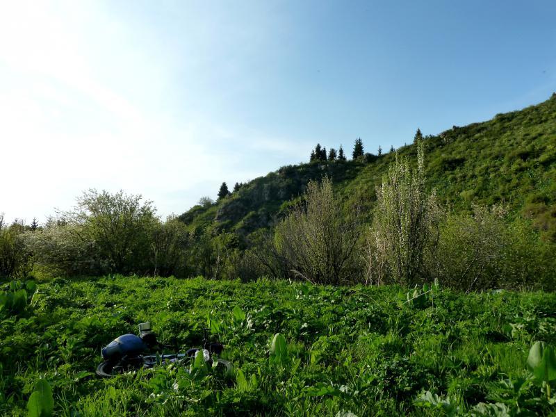 20130518. Вид в месте стоянки на хребте между долинами речек Микушин-Сай и Кешкентай-Тастысай.