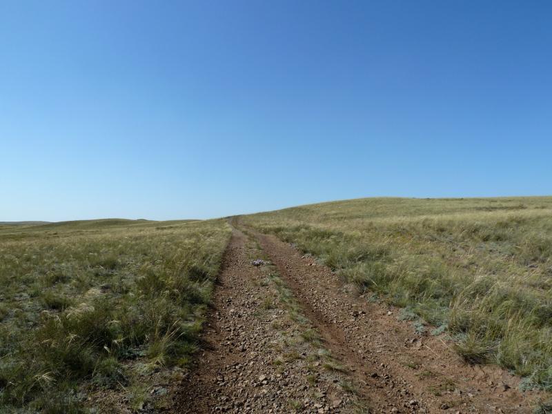 20130909. Дорога в холмистой степи северо-западнее Баянаульских гор.