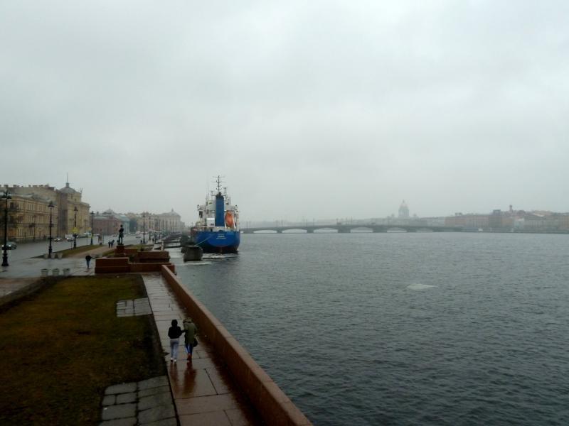 20150308. Вид с набережной лейтенанта Шмидта на Благовещенский мост через реку Большая Нева.