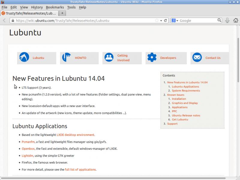 """Установка """"Lubuntu 14.04"""": страница анонса дистрибутива на сайте разработчиков."""