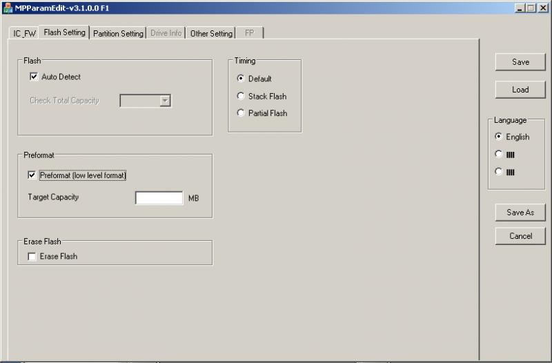 Phison MPALL v3.08: Параметры устройства хранения.