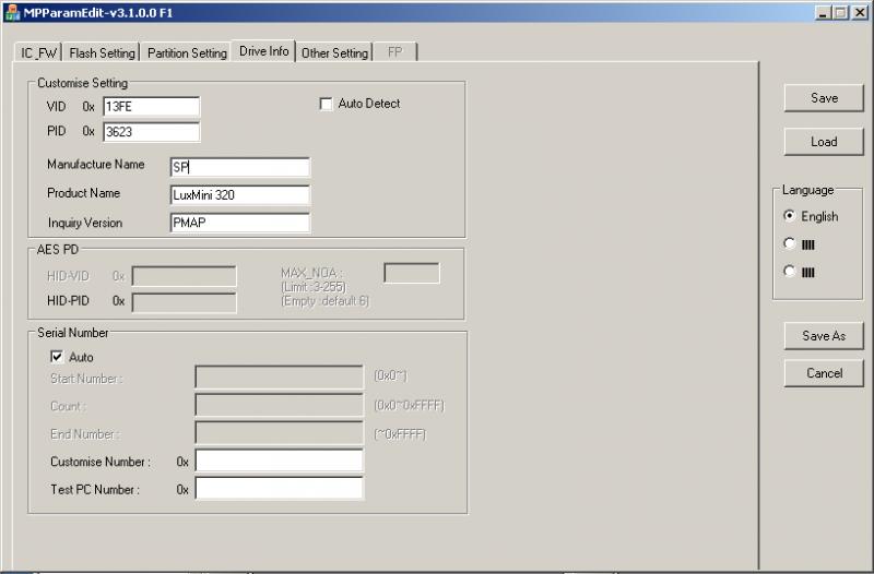 Phison MPALL v3.08: Отображаемые параметры контроллера.