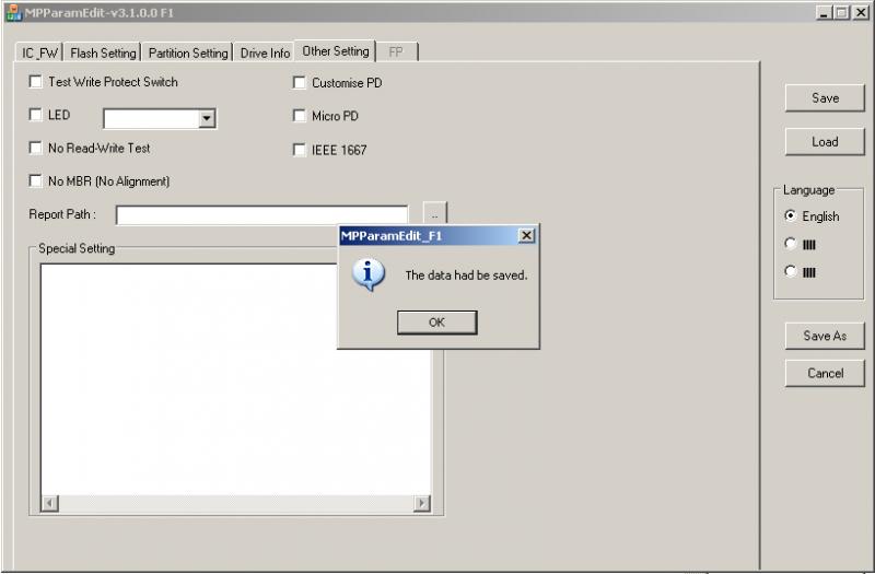 Phison MPALL v3.08: Сохранаяем настройки утилиты.